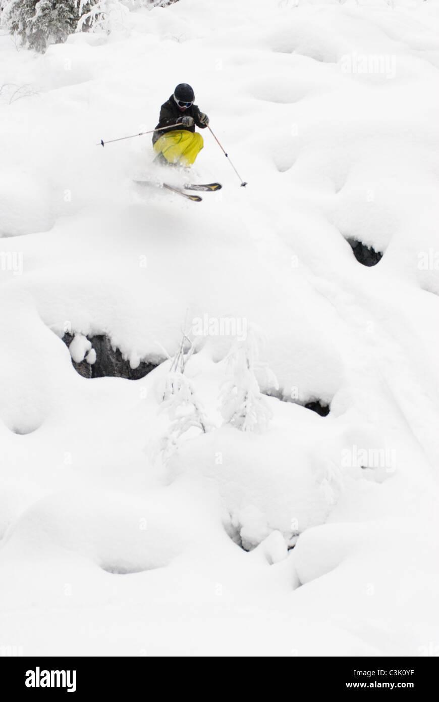 Un libero sciatore sking in polvere in Iso-Syöte, Finlandia Immagini Stock