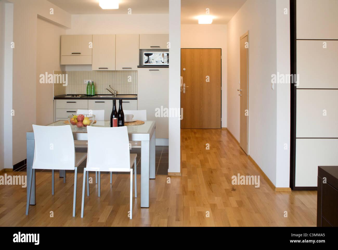 Interno del piccolo appartamento - soggiorno e cucina Immagini Stock
