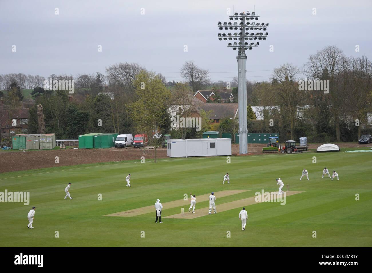 Kent County Cricket Club di St Lawrence Ground durante la pratica il match contro il Sussex, 5 Aprile 2011 Immagini Stock