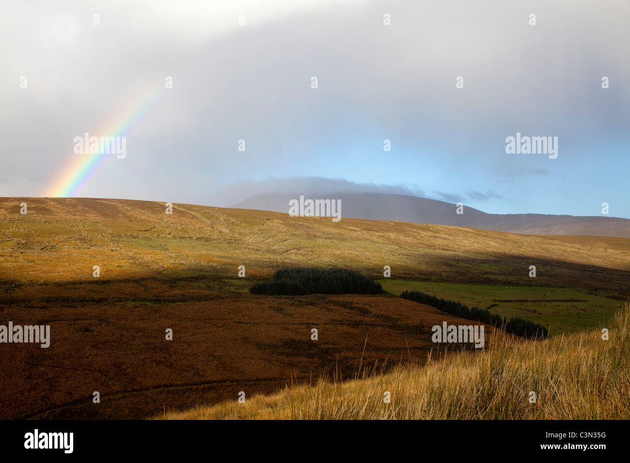 Rainbow su Sawel Mountain, montagne Sperrin, County Tyrone, Irlanda del Nord. Immagini Stock