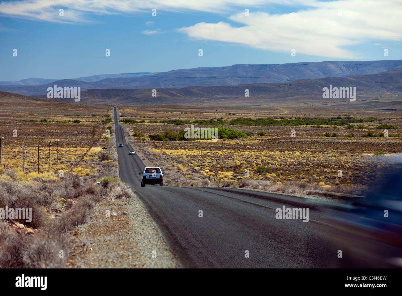 Sud Africa, Northern Cape, Sutherland, strada da Matjiesfontein. Immagini Stock