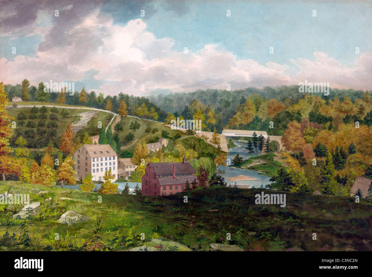 Mulino sul Brandywine, Delaware, USA, penna e acquerello, circa 1828 Immagini Stock