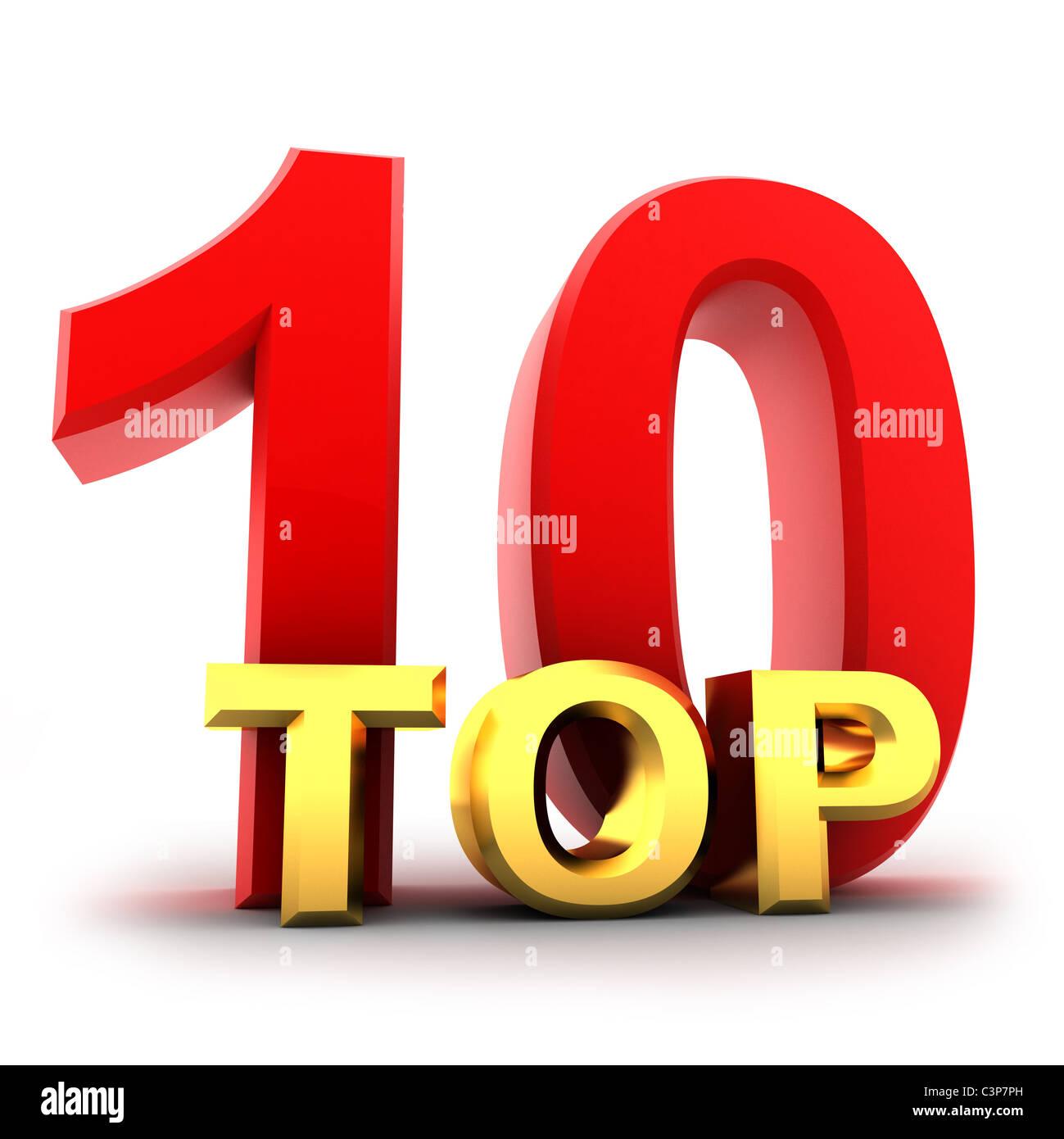 Top ten il migliore (isolato, fatto in 3d) Immagini Stock