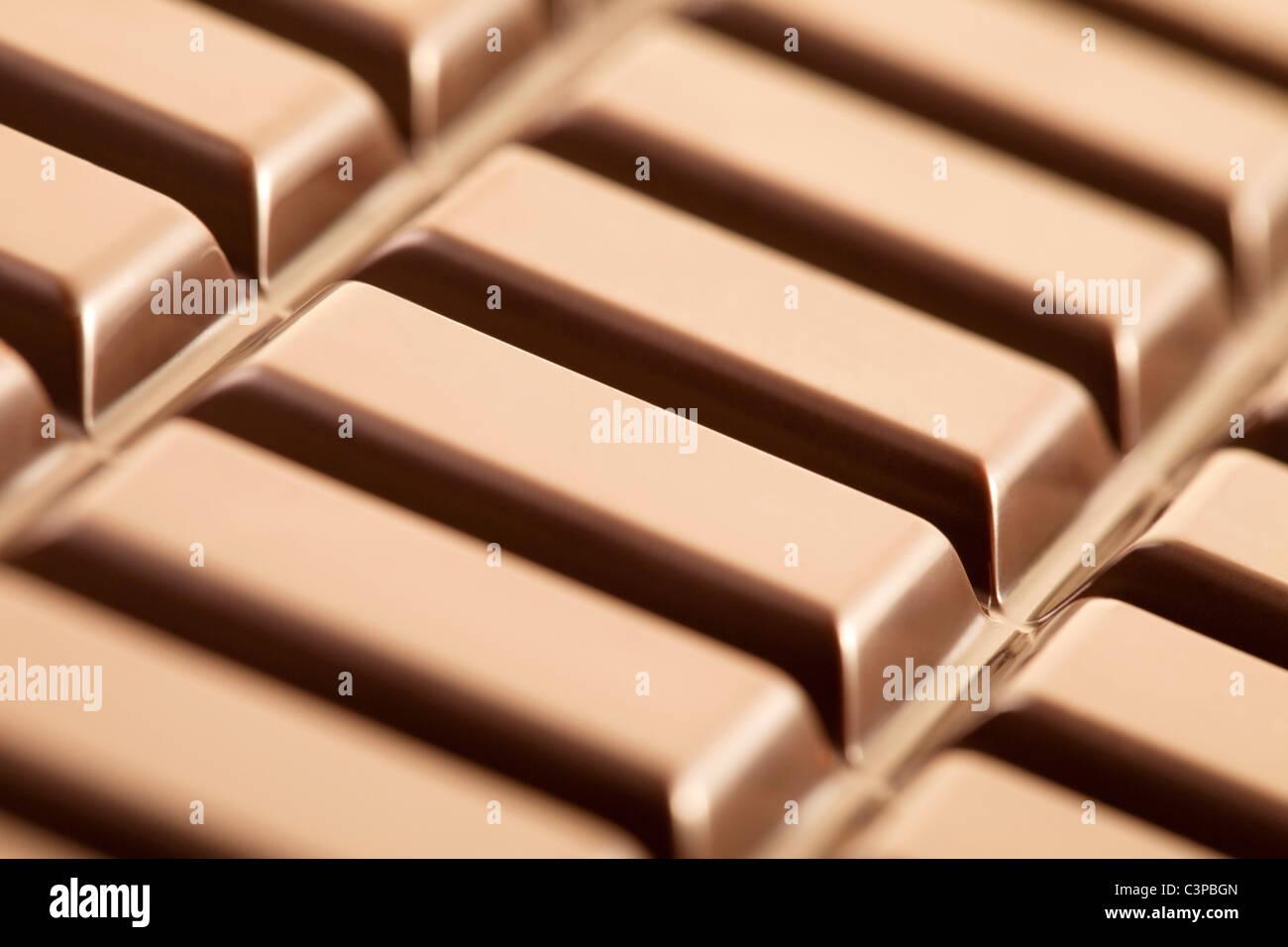 Barra di cioccolato, close-up, full frame Immagini Stock