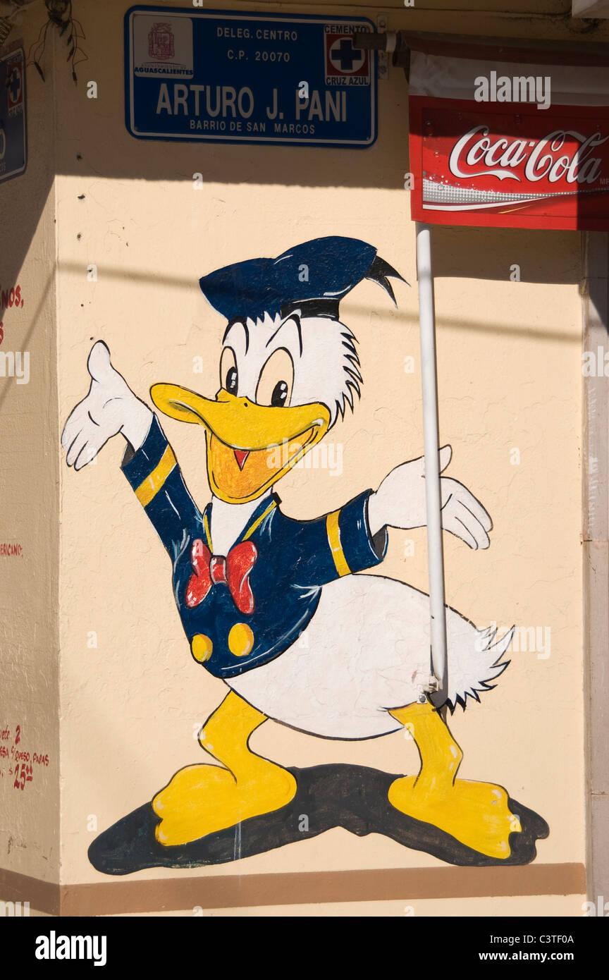 Elk187-2200v Messico, Aguascalientes, Donald Duck illustrazione Walt Disney carattere Immagini Stock