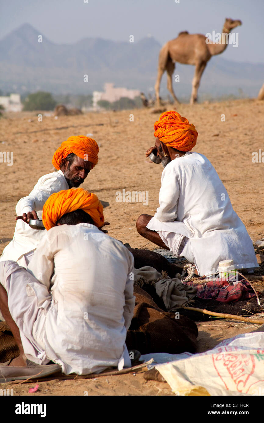 Popolo Indiano e vita quotidiana durante il cammello annuale fiera di Pushkar, Rajasthan, India, Asia Immagini Stock