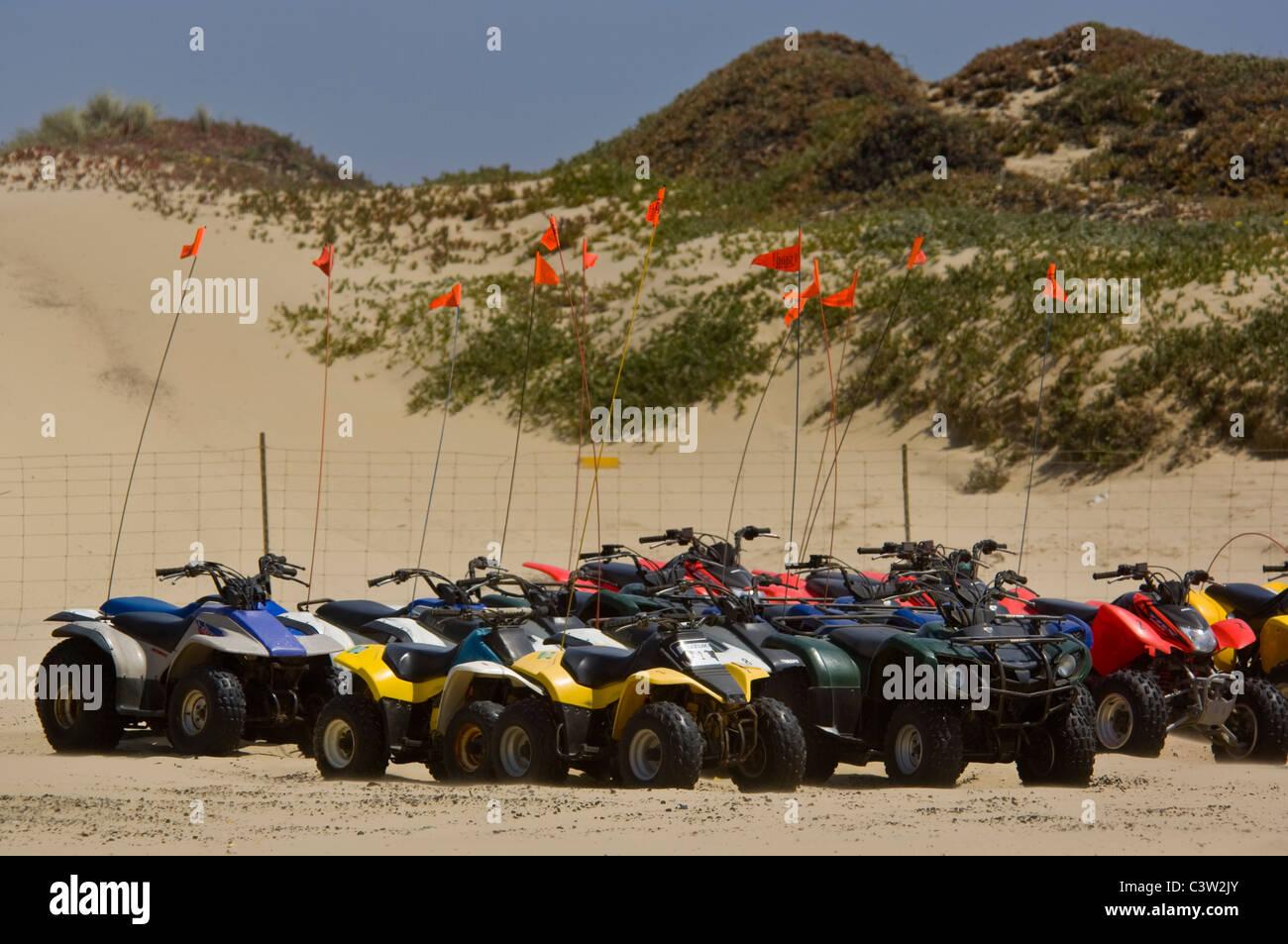ATV sulla sabbia a Oceano Dunes State Vehicular Recreation Area, Oceano, California Immagini Stock