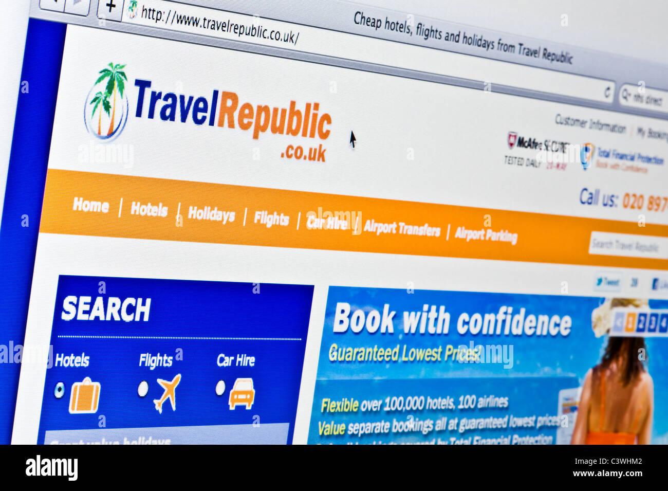 Close up della Repubblica di viaggio logo come visto sul suo sito web. (Solo uso editoriale: -print, TV, e-book Immagini Stock