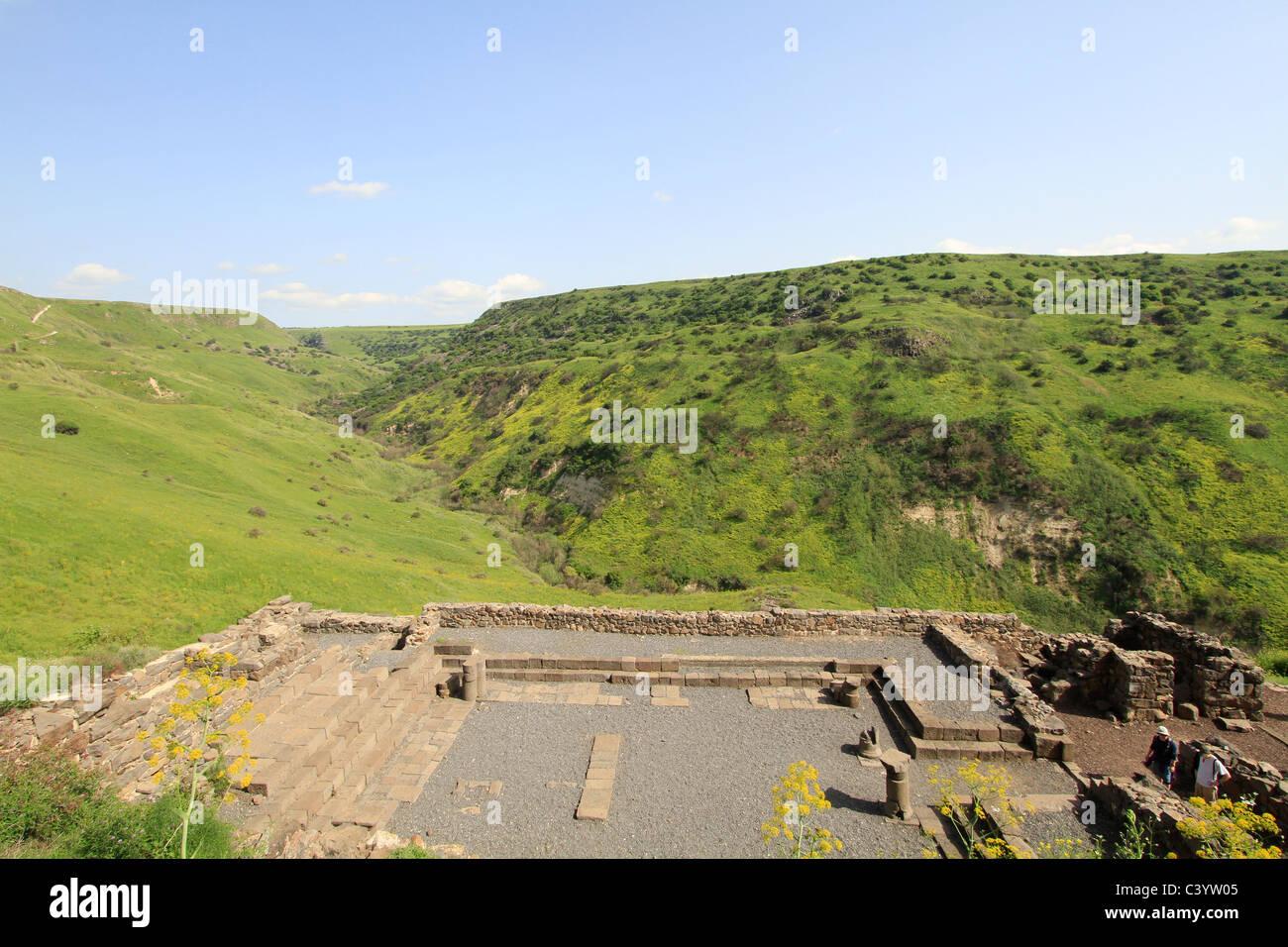 Alture del Golan, rovine di Gamla antica Sinagoga Immagini Stock