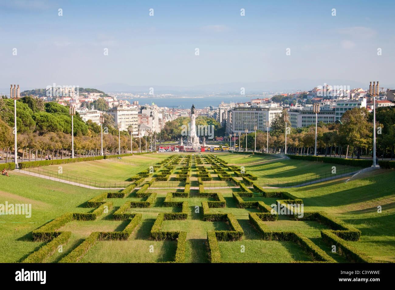 Il Portogallo, Europa, Lisbona, Eduardo, park, parco, colonna, panoramica, mare, città, Immagini Stock