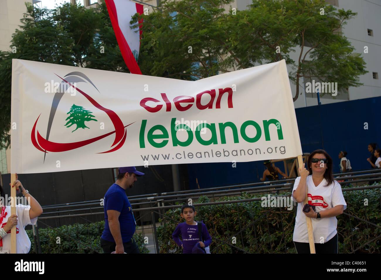 Pulire il Libano manifestazione Immagini Stock