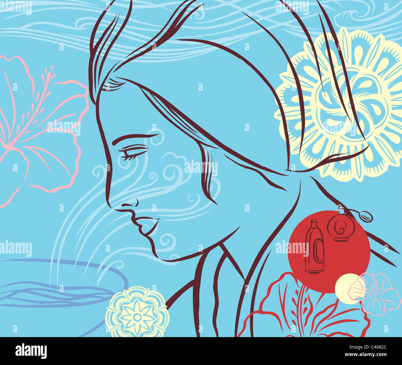 Illustrazione di una donna che indossa un asciugamano sul suo capo Immagini Stock