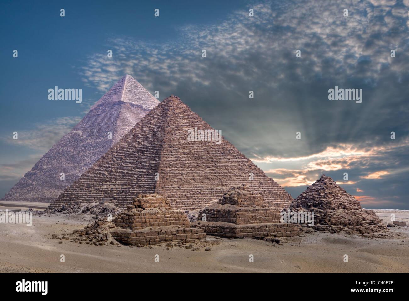 Piramidi di Giza, il Cairo, Egitto Immagini Stock