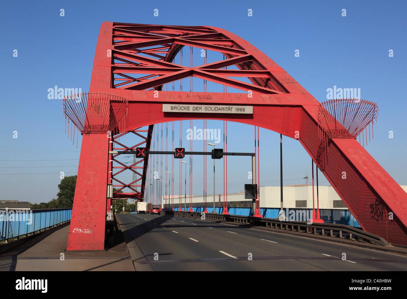 La cultura industriale, bridge, solidarietà, ponte sul Reno, Rheinhausen, Hochfeld, Duisburg, Reno, Basso Reno, Immagini Stock