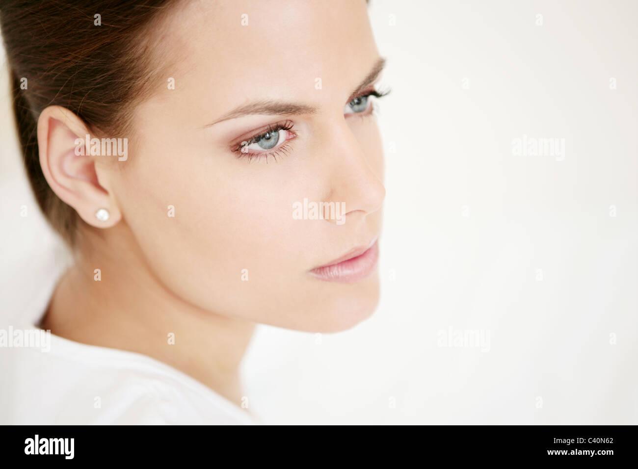 Faccia, giovane donna, vitalità, fresche, compongono, modello adulto, femmina, testa, bellezza, 20-25 anni, Immagini Stock