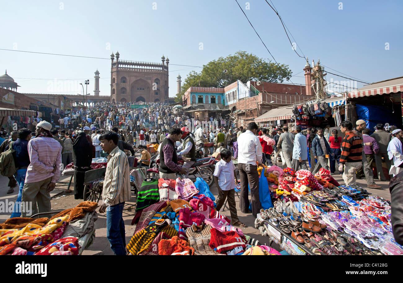 Street bazaar. Jama Masjid moschea. New Delhi. India Immagini Stock