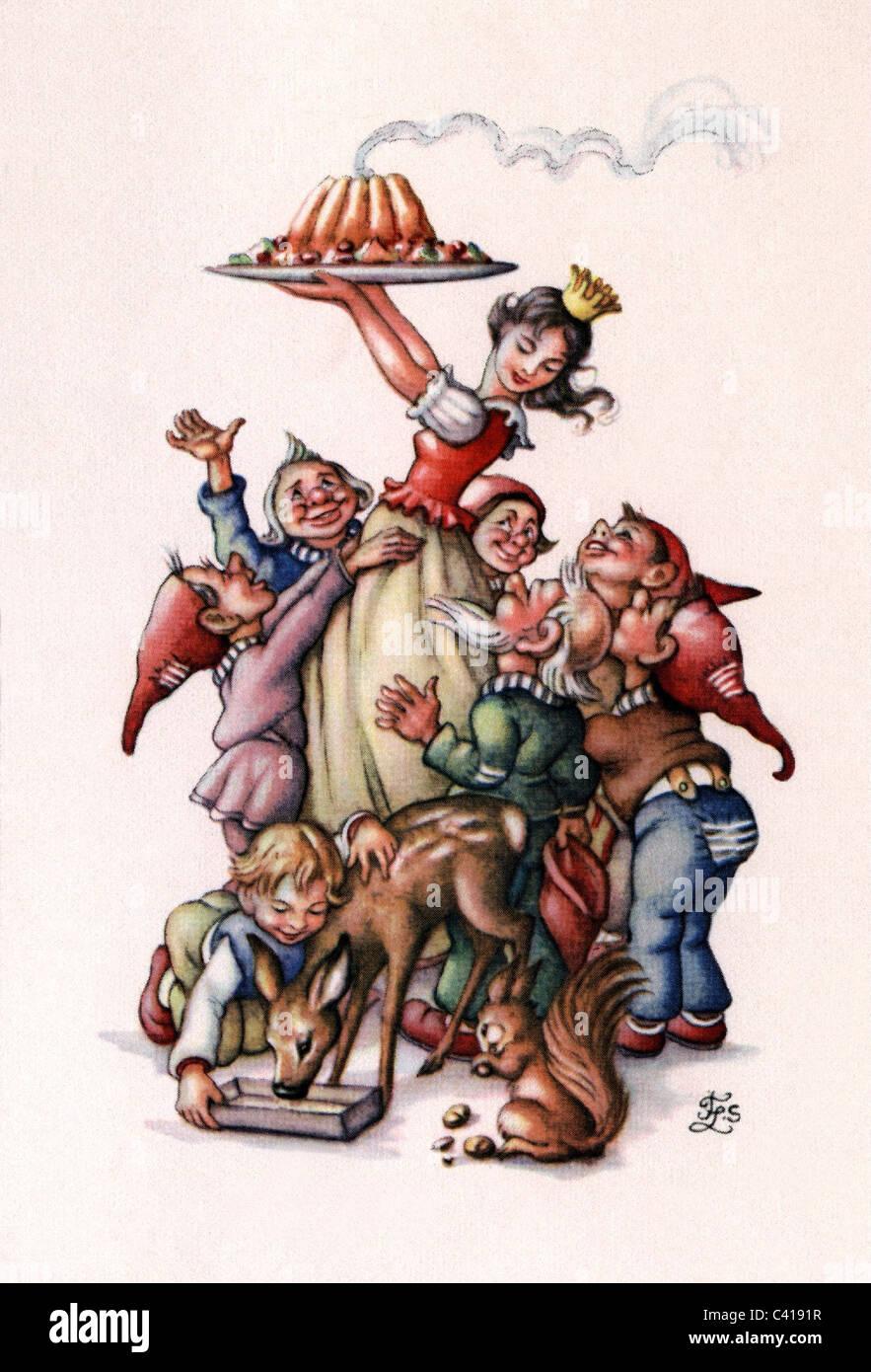 """La letteratura, la favola di Grimm fiaba, """"Biancaneve e i sette nani"""", illustrazione colorata, Additional Immagini Stock"""