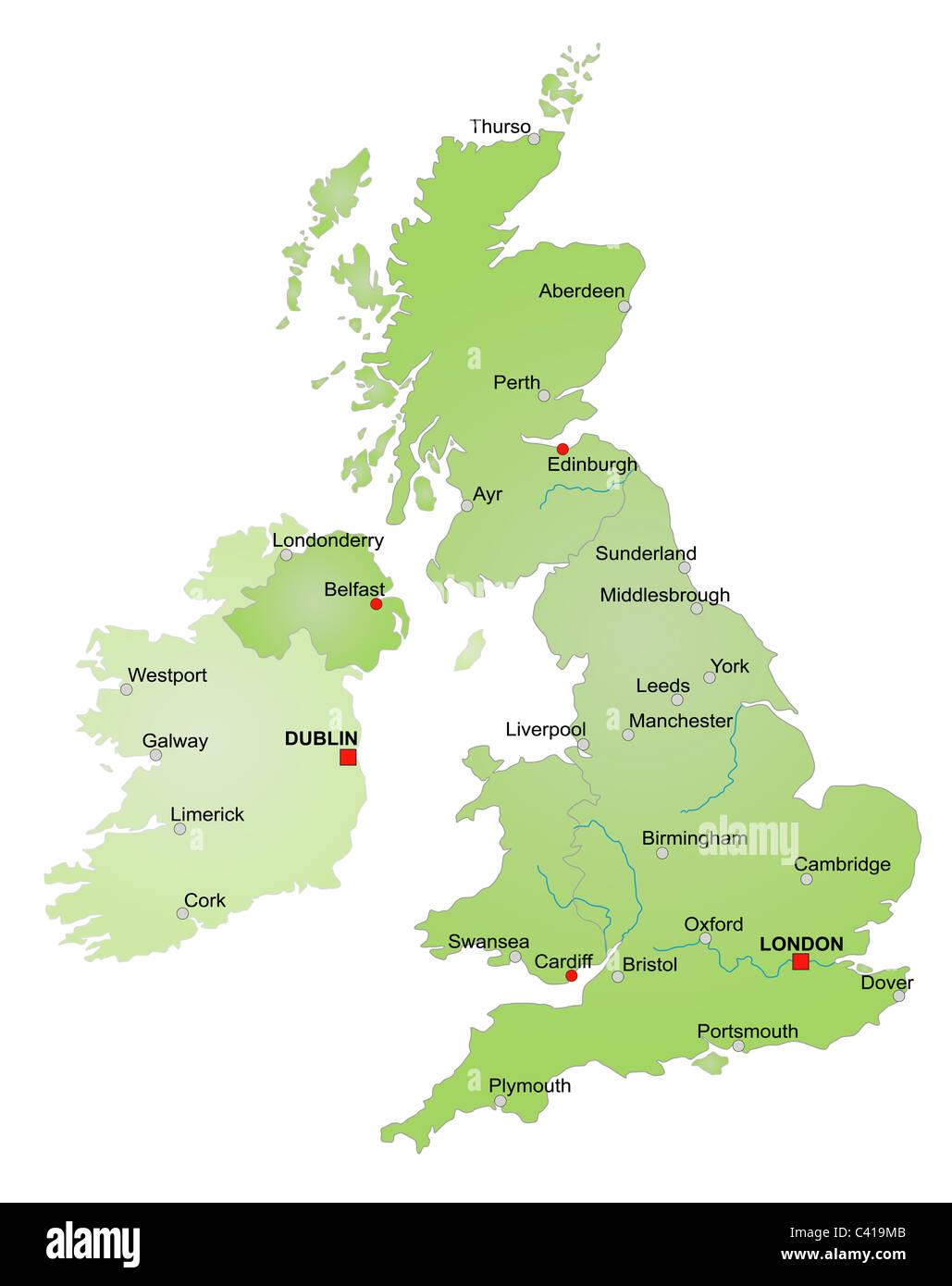Cartina Geografica Inghilterra E Scozia.Mappa Stilizzata Del Regno Unito Mostra Inghilterra Galles Scozia E Irlanda Del Nord E Irlanda Tutto Su Sfondo Bianco Foto Stock Alamy