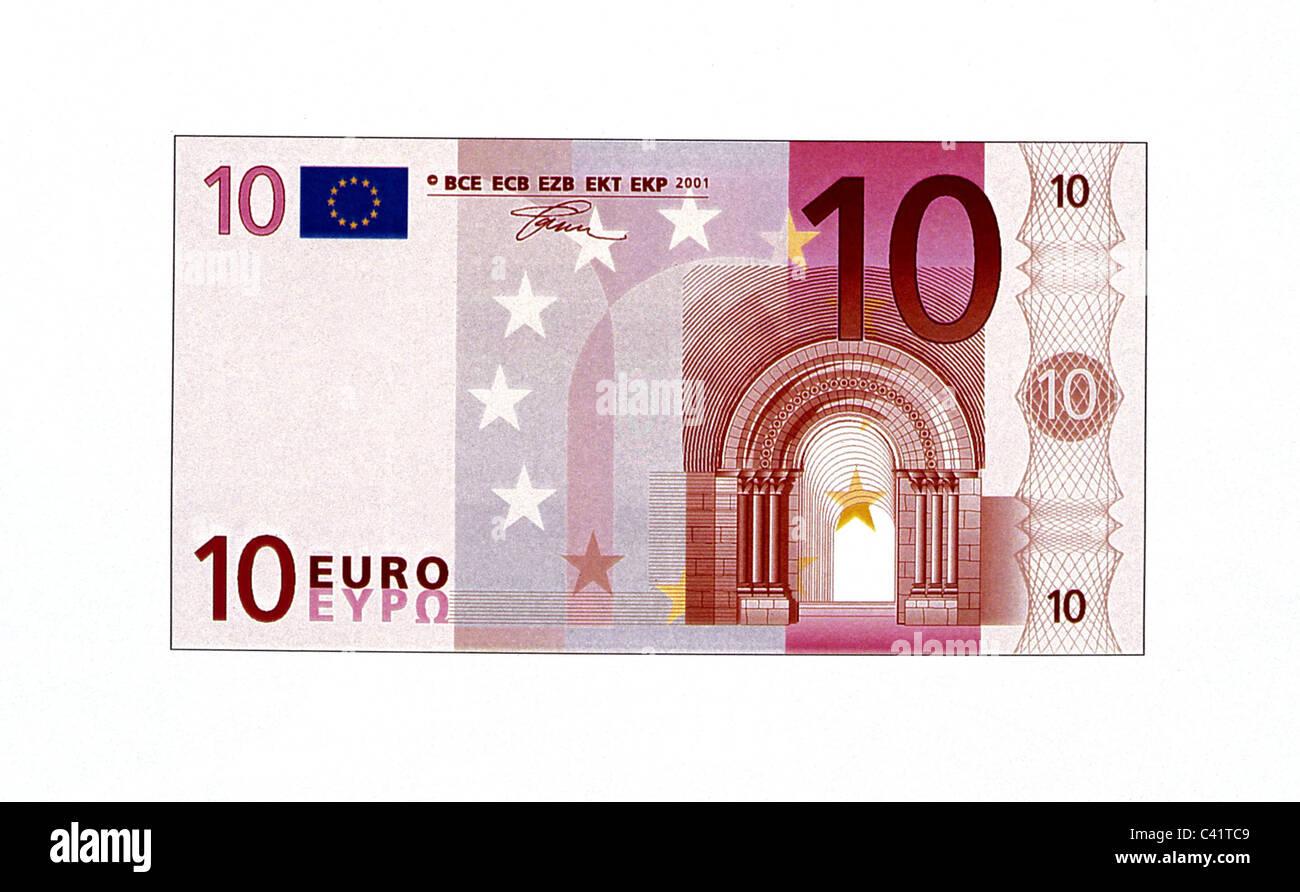 Soldi, delle banconote in euro, 10 euro bill, complementare, la banconota, banca nota, Bill, banconote, la banconota, Immagini Stock
