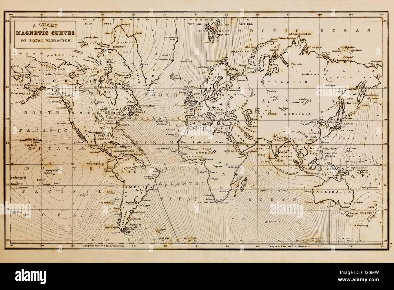 Foto di una vera e propria disegnata a mano mappa del mondo è stata elaborata nel 1844 e pertanto i paesi sono Immagini Stock