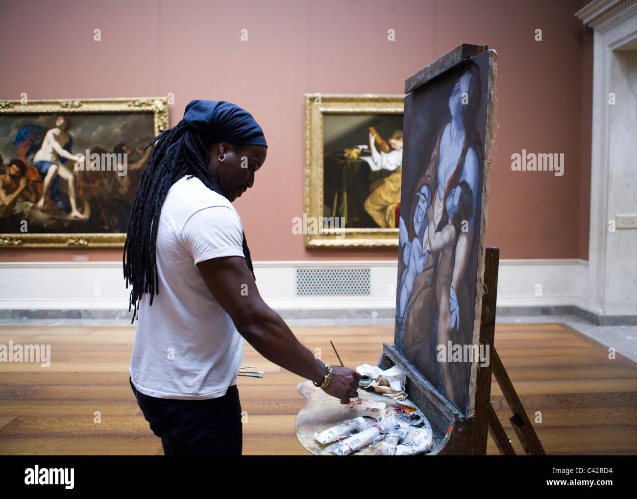 Una pittura ad olio artista ricreando un sedicesimo secolo la pittura - lo Smithsonian, il Museo di Fine-Art, Washington Immagini Stock