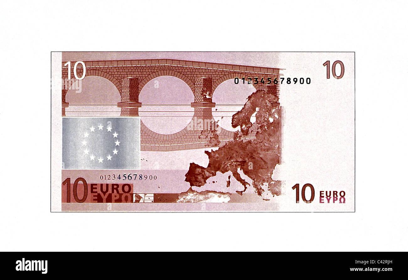 Soldi, delle banconote in euro, 10 euro bill, retromarcia, la banconota, banca nota, Bill, banconote, la banconota, Immagini Stock