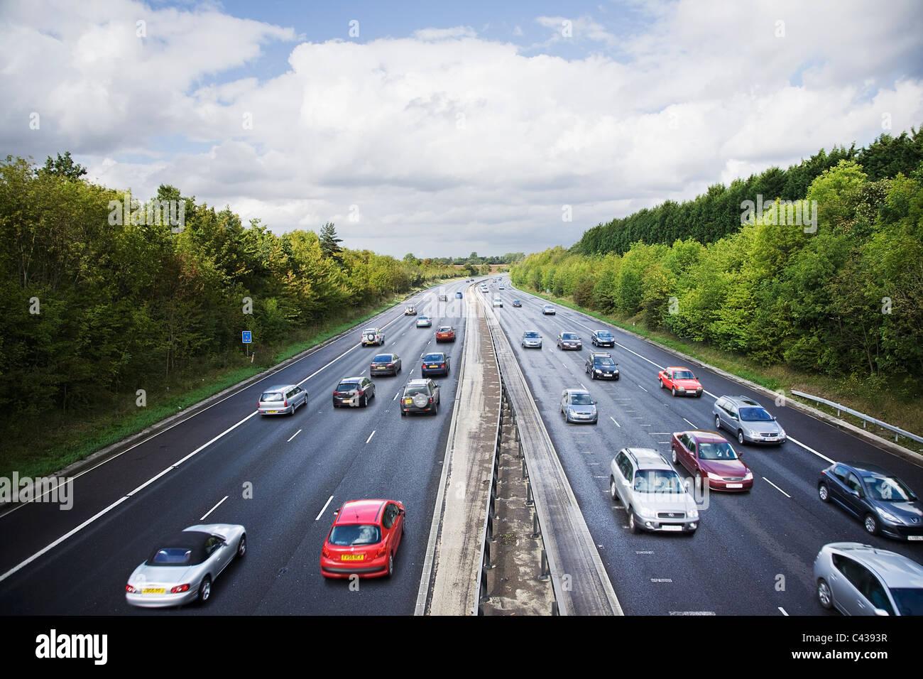 Trafficata autostrada britannica Immagini Stock
