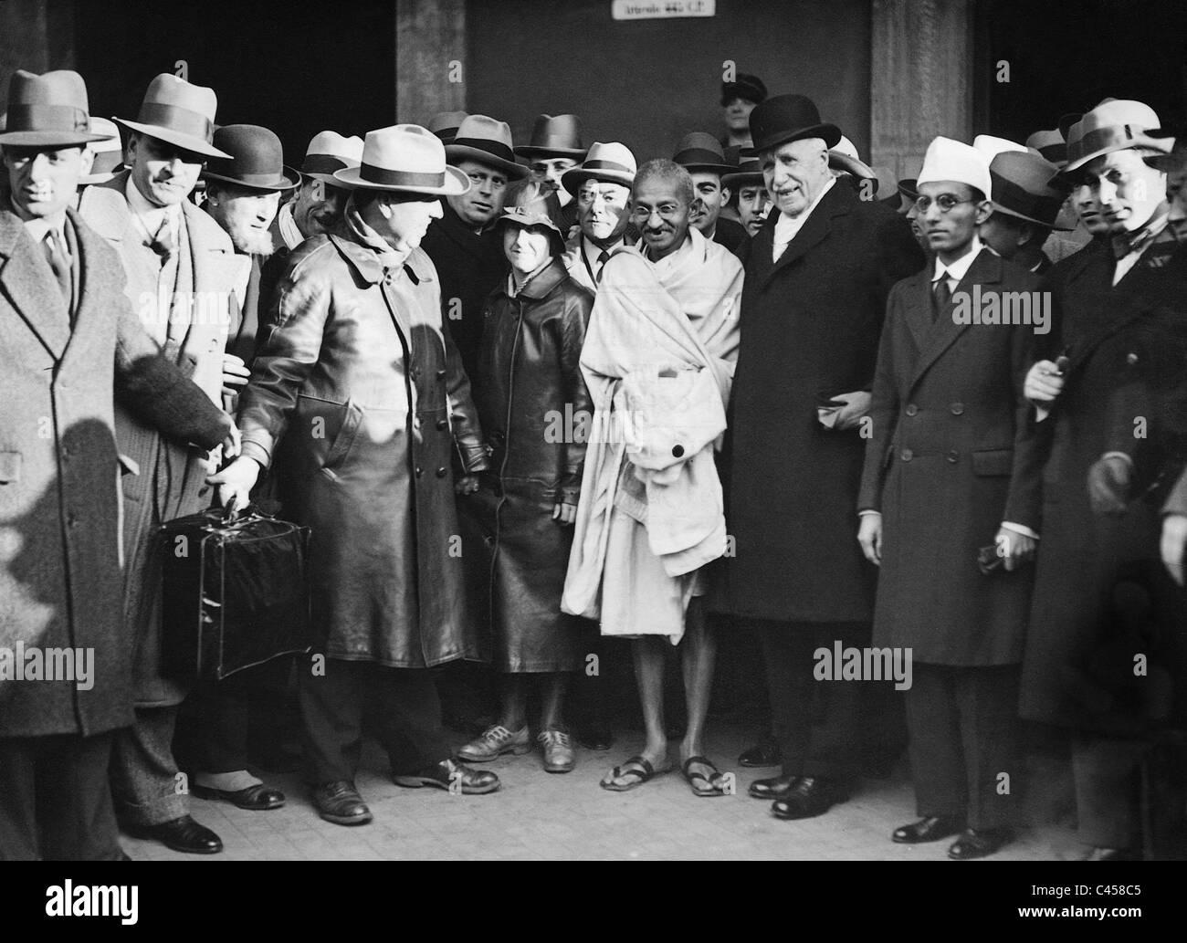 Arrivo del Mahatma Gandhi, 1931 Immagini Stock