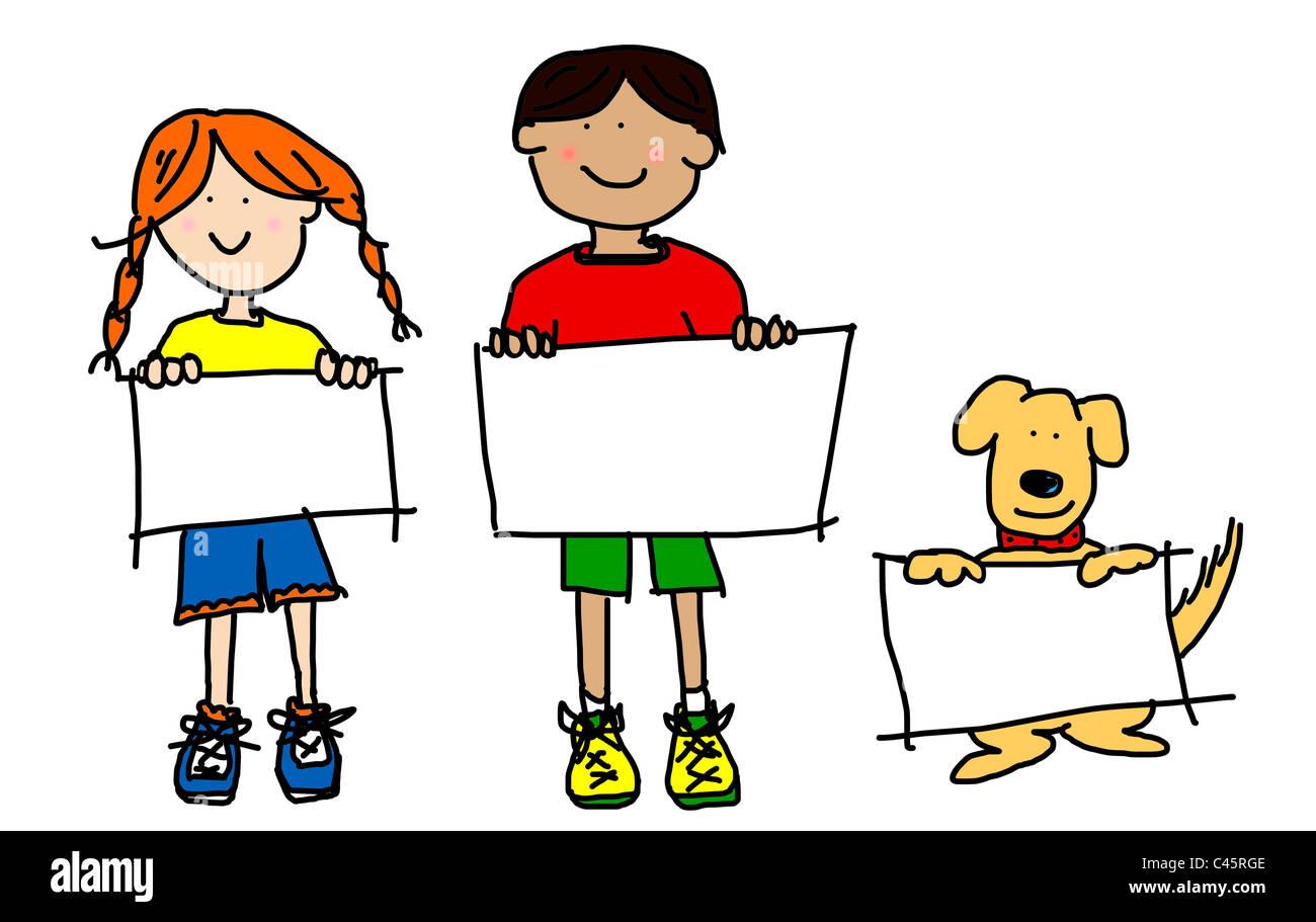 Grandi personaggi di cartoni animati: simplisticand coloratissima linea di disegni dei due ragazzi sorridenti e Immagini Stock