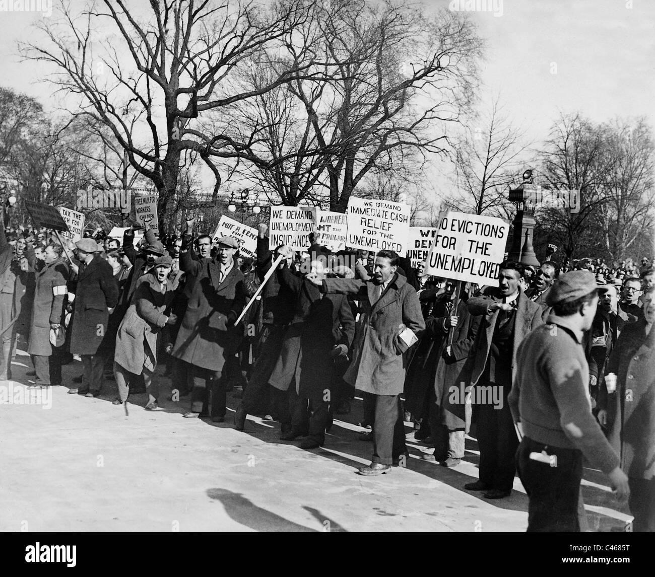 Dimostrazione di disoccupazione durante la Grande Depressione di fronte al Campidoglio, 1931 Immagini Stock