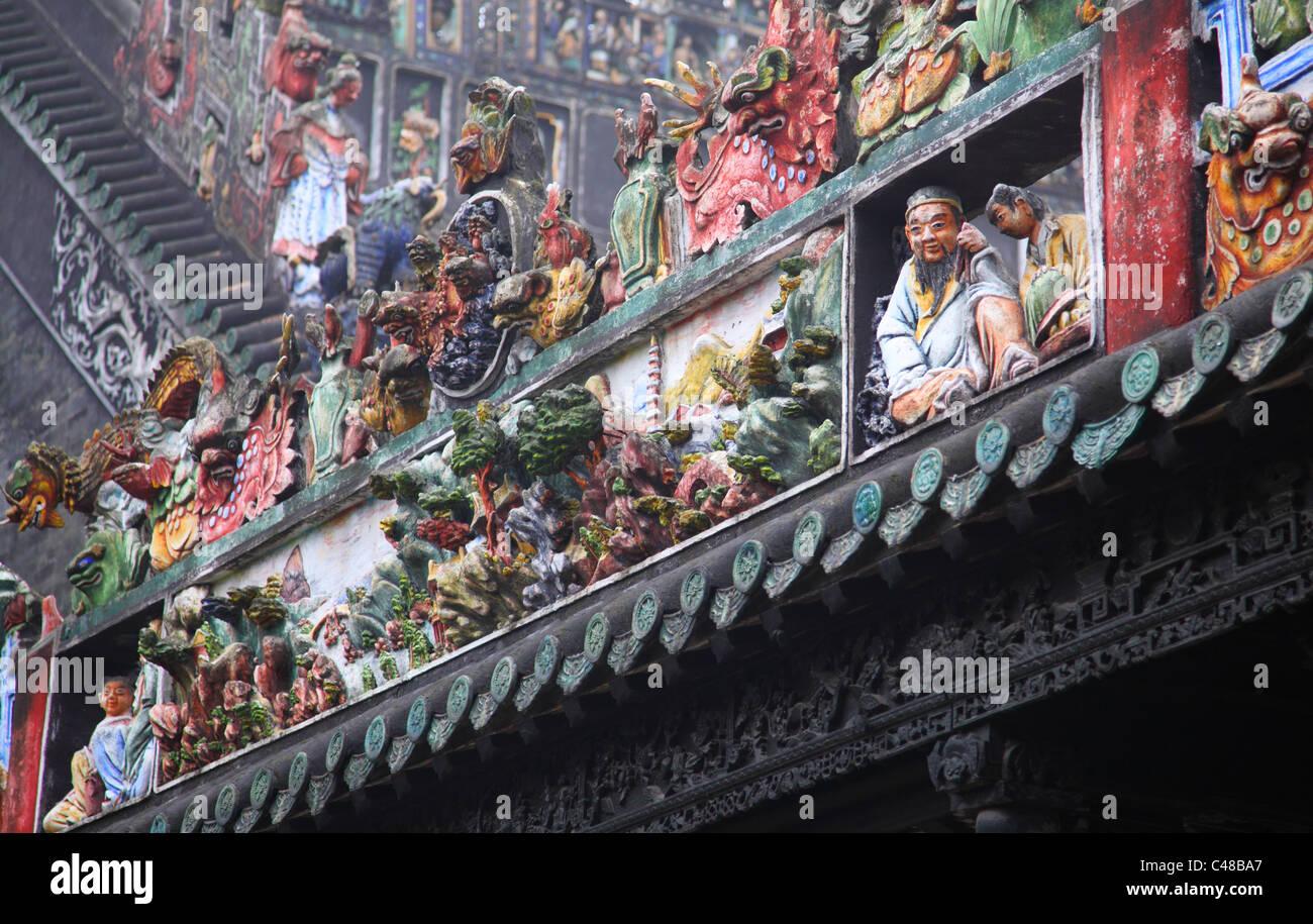 Dettaglio del tetto a Guangdong Folk Art Museum, Guangzhou, Cina Immagini Stock