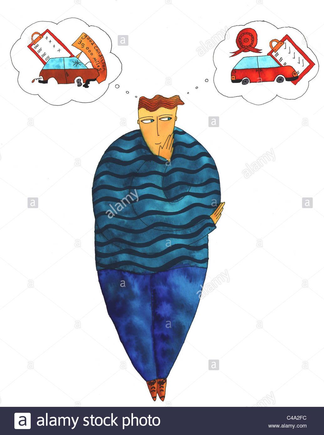 Penna e inchiostro illustrazione di un uomo pensare circa i motivi per accertarsi che la sua vettura è degno Immagini Stock