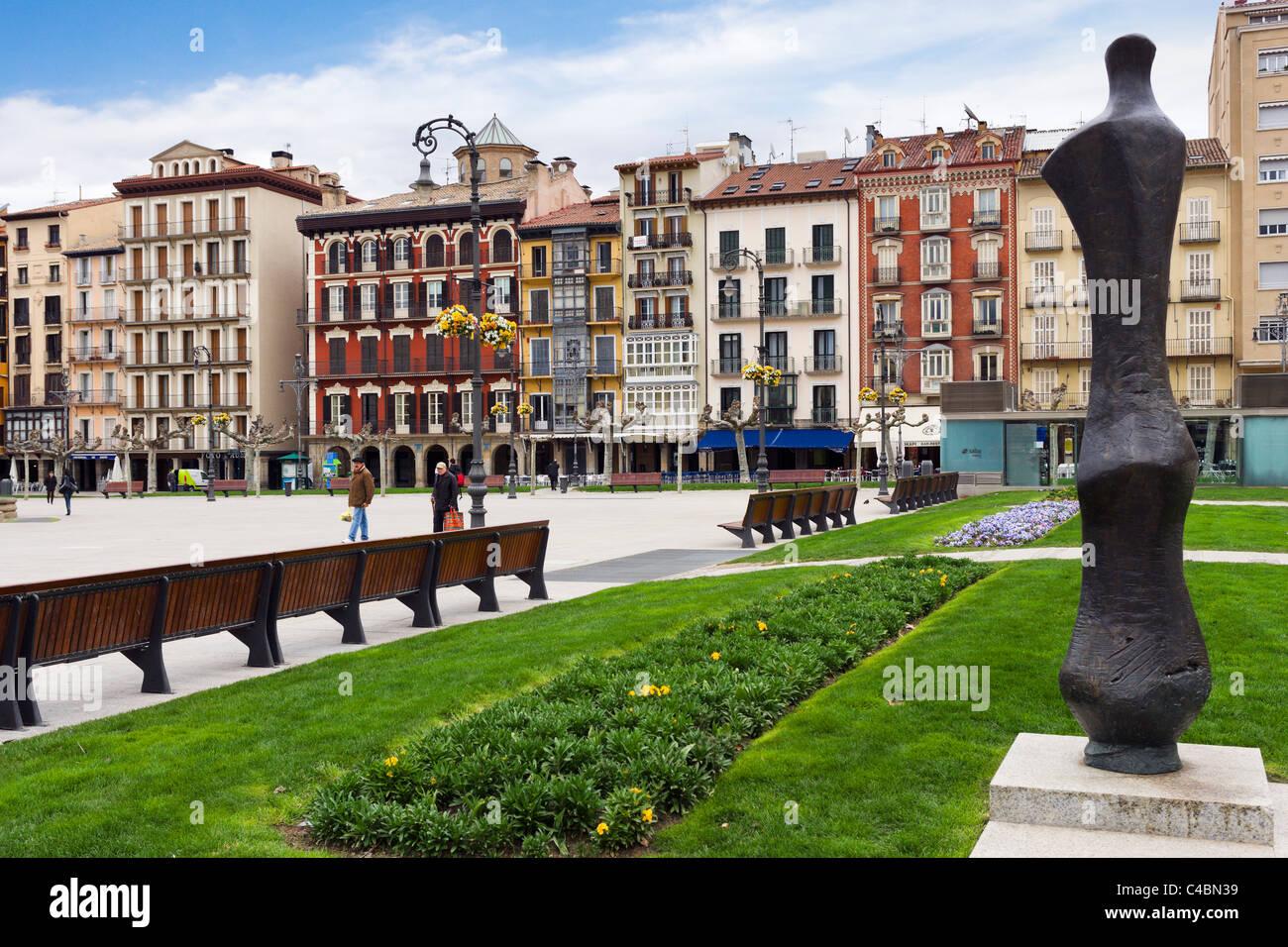 Plaza del Castillo nella storica Città Vecchia (Casco Viejo), Pamplona, Navarra, Spagna Immagini Stock