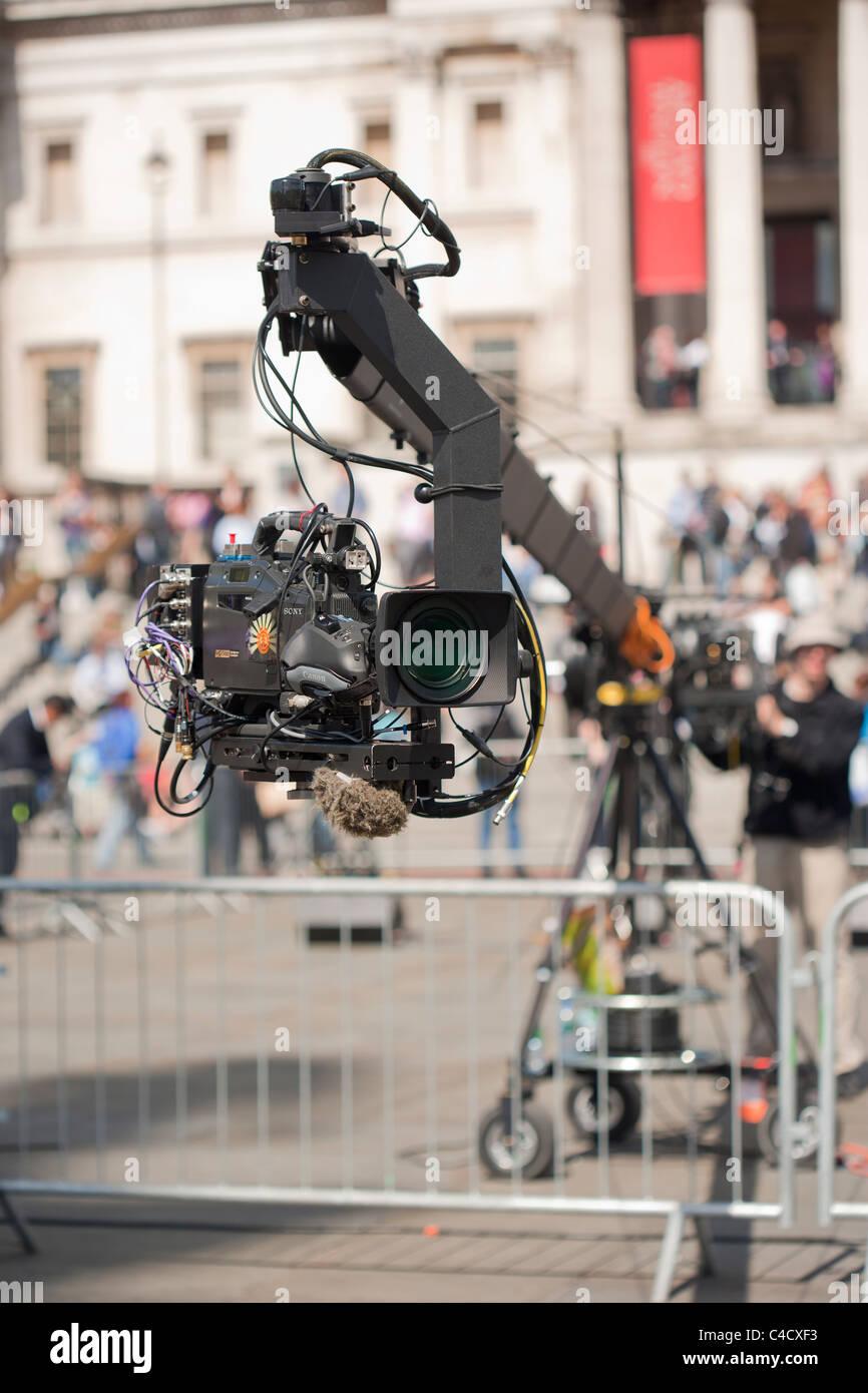 Le riprese a Trafalgar Square in anticipo delle nozze reali del principe William e Kate Immagini Stock