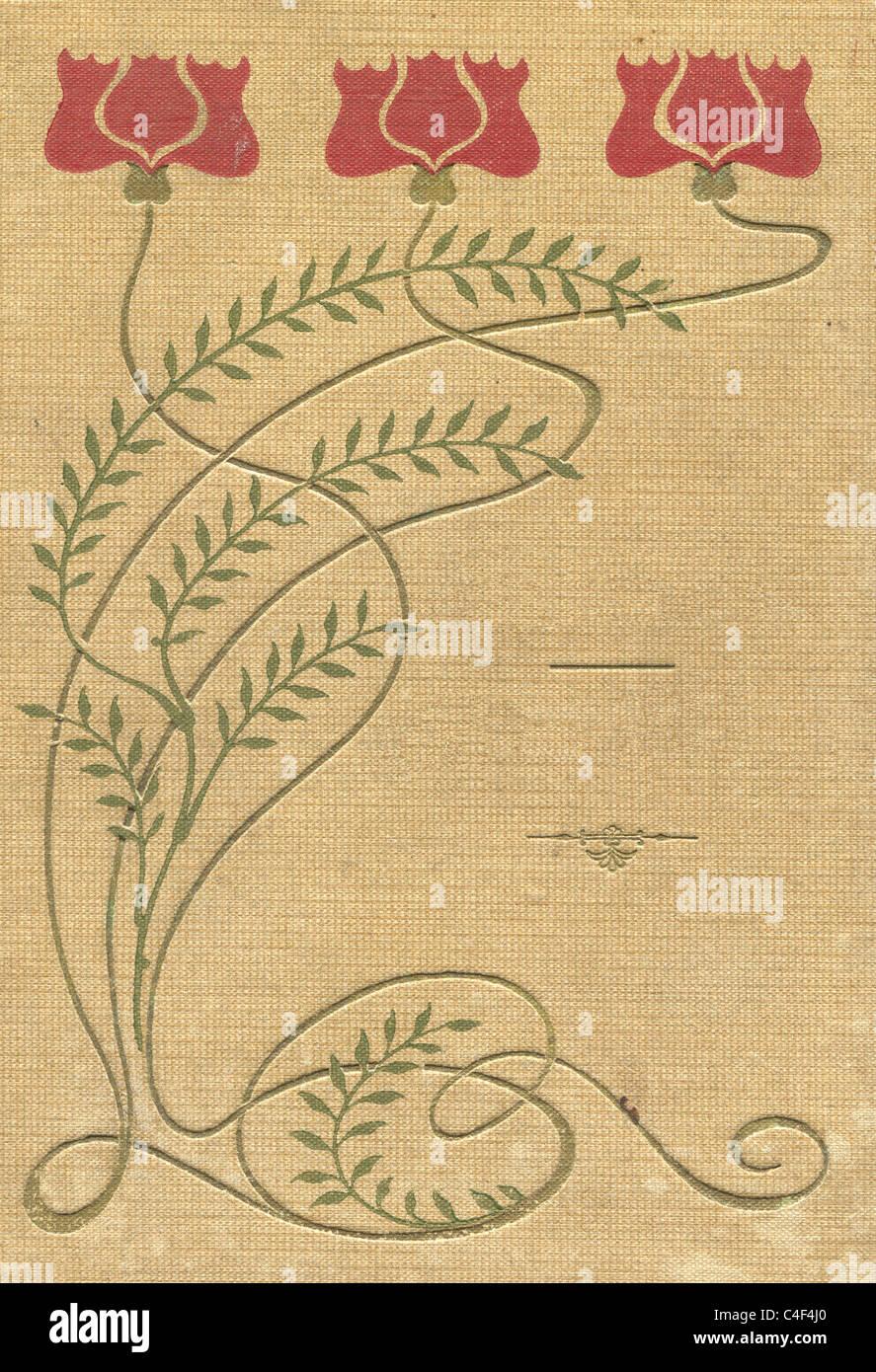 Copertina di un vecchio libro di tessuto di motivi e colori. Immagini Stock
