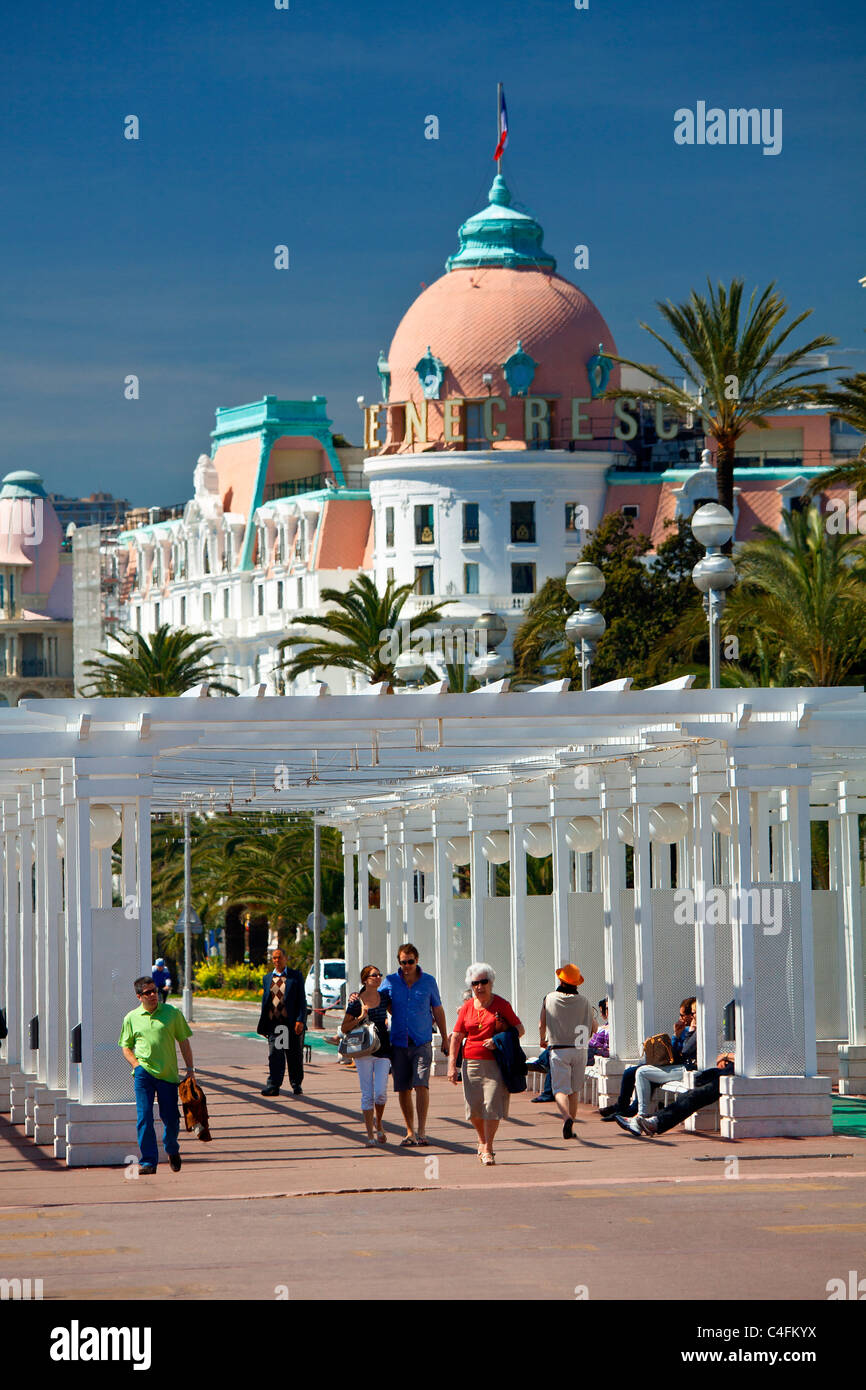 Francia, Alpes Maritimes (06), Promenade des Anglais e Negresco Hotel Immagini Stock