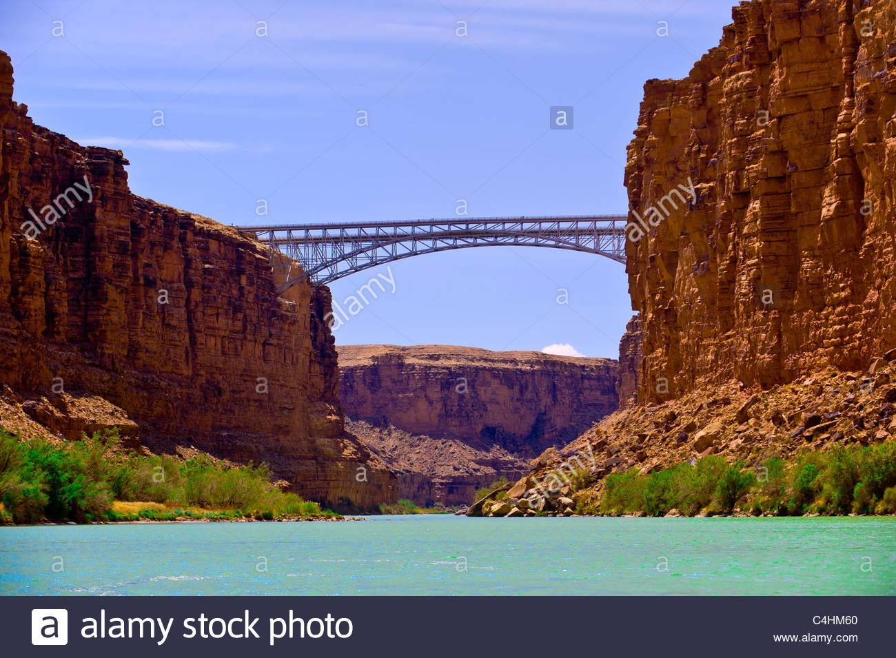 Navajo Bridge in Marble Canyon, Glen Canyon National Recreation Area, il Fiume Colorado, Arizona USA Immagini Stock