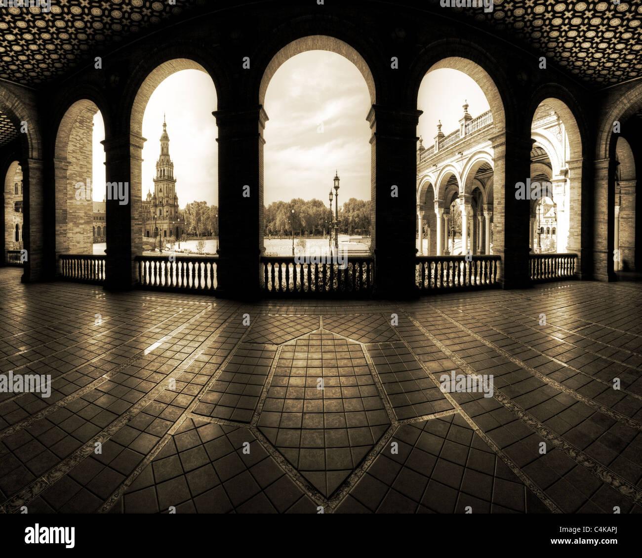 ES - Andalusia: Siviglia la famosa Plaza de Espana Immagini Stock