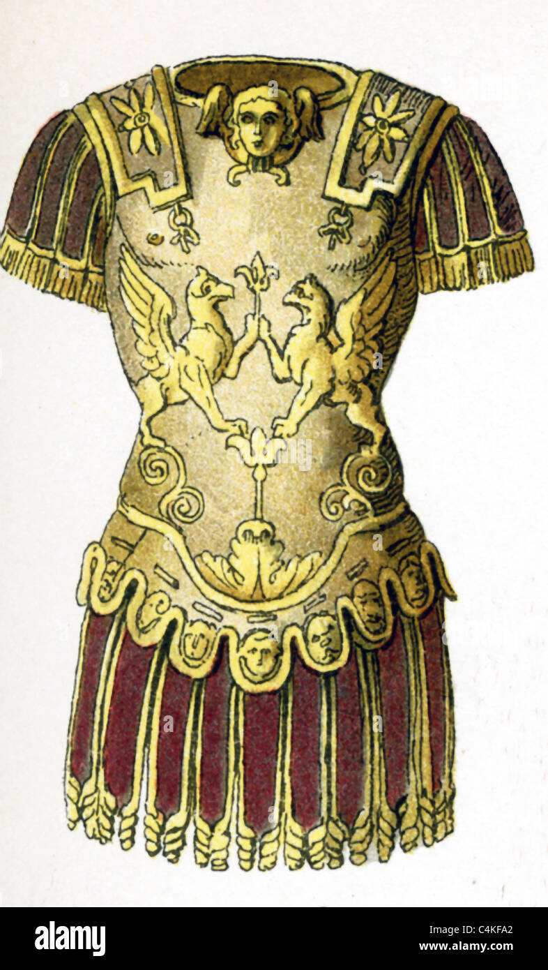 Questa 1882 illustrazione mostra un generale romano's Armor al tempo di ritardo di repubblica e impero (c. 100 Immagini Stock