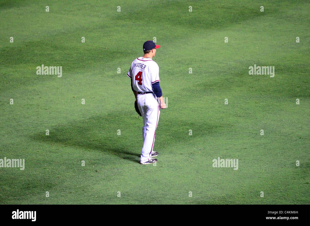 Atlanta, Georgia - 16 Giugno 2011: Joe Mather degli Atlanta Braves squadra di baseball. Immagini Stock