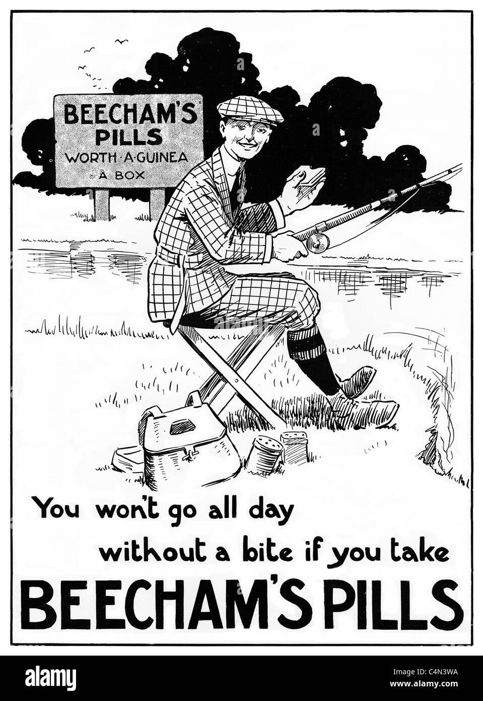 Beechams Pills la pesca ad, Edwardian annuncio per il ben noto brevetto medicina, un pescatore che ottiene un morso Immagini Stock