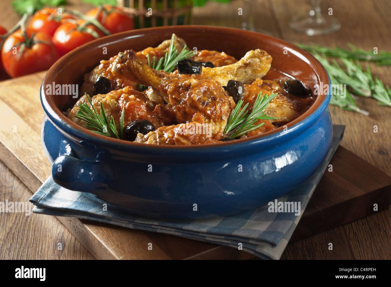 Pollo alla cacciatora il cibo italiano Immagini Stock