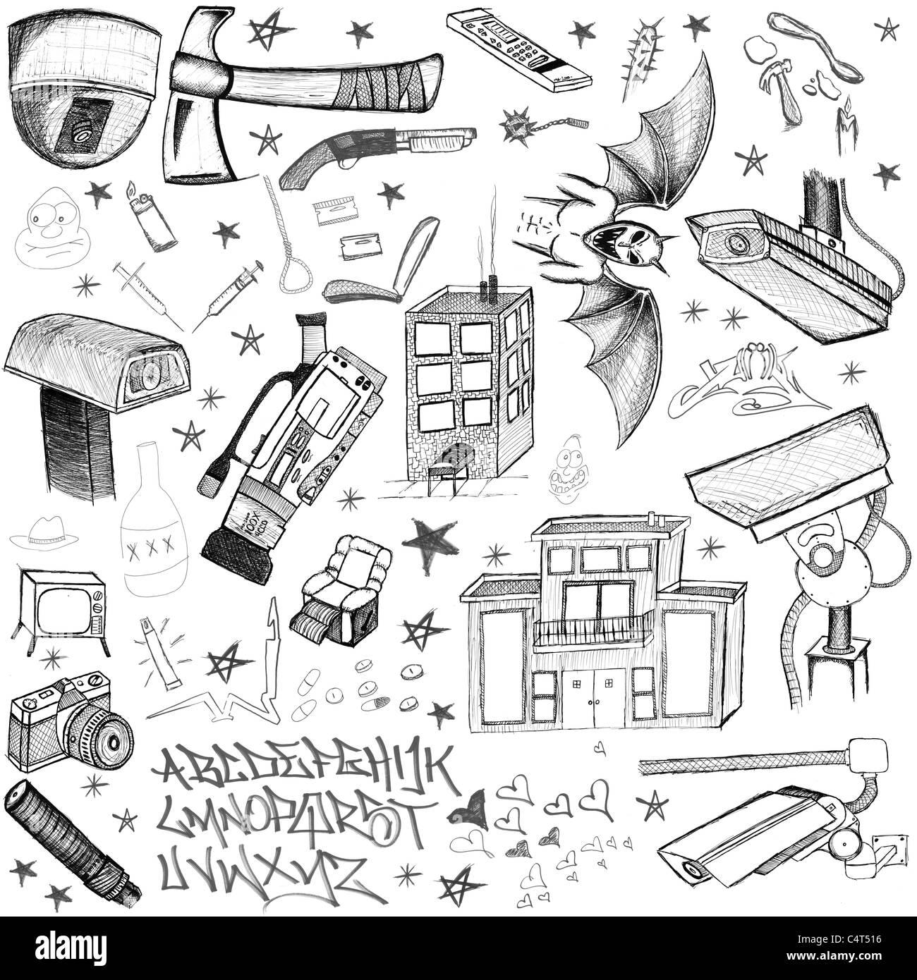Disegnata a mano scarabocchi gli elementi di design scetch gli scarabocchi disegno Immagini Stock