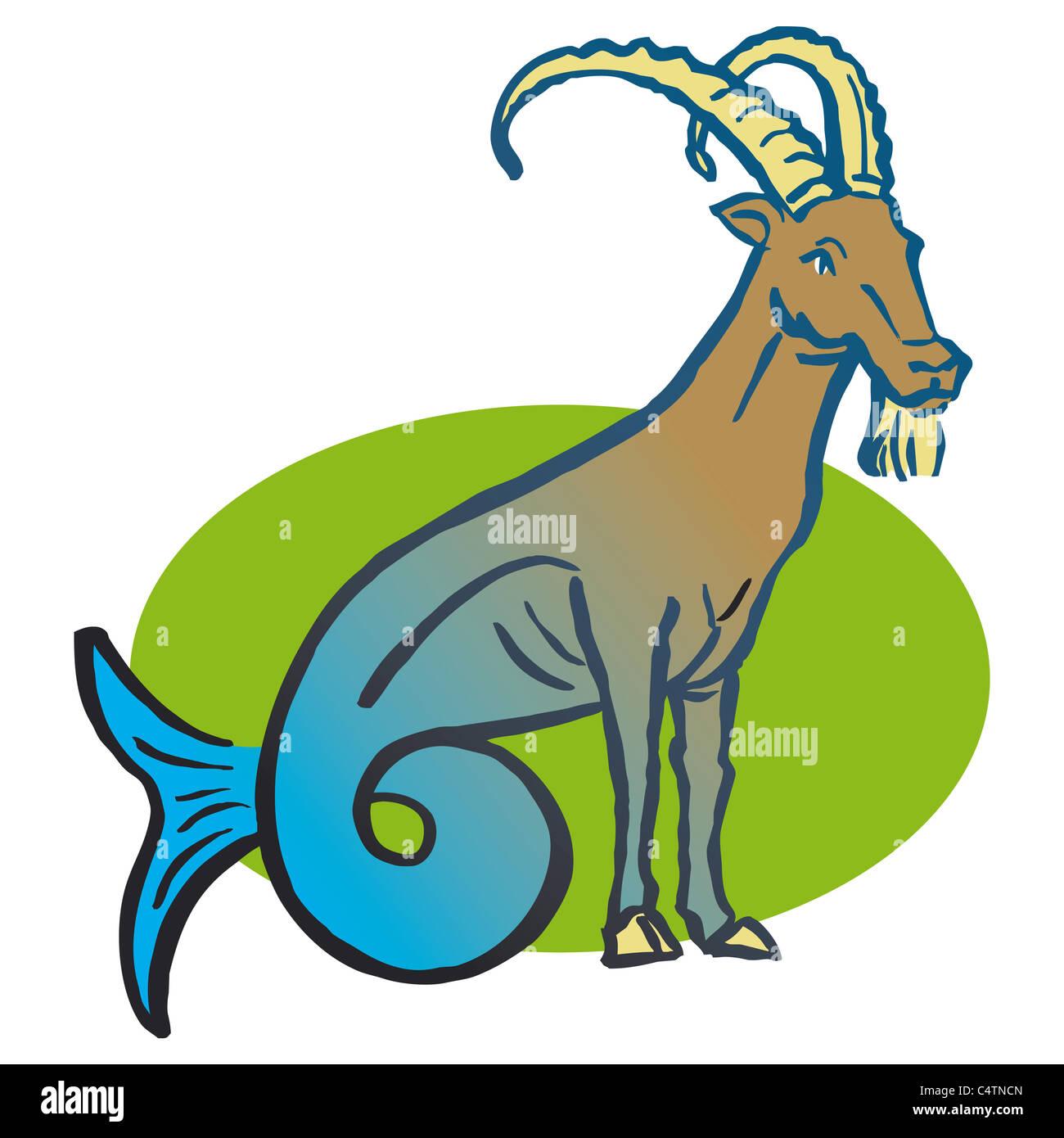 Capricorno segno zodiacale, illustrazione Immagini Stock