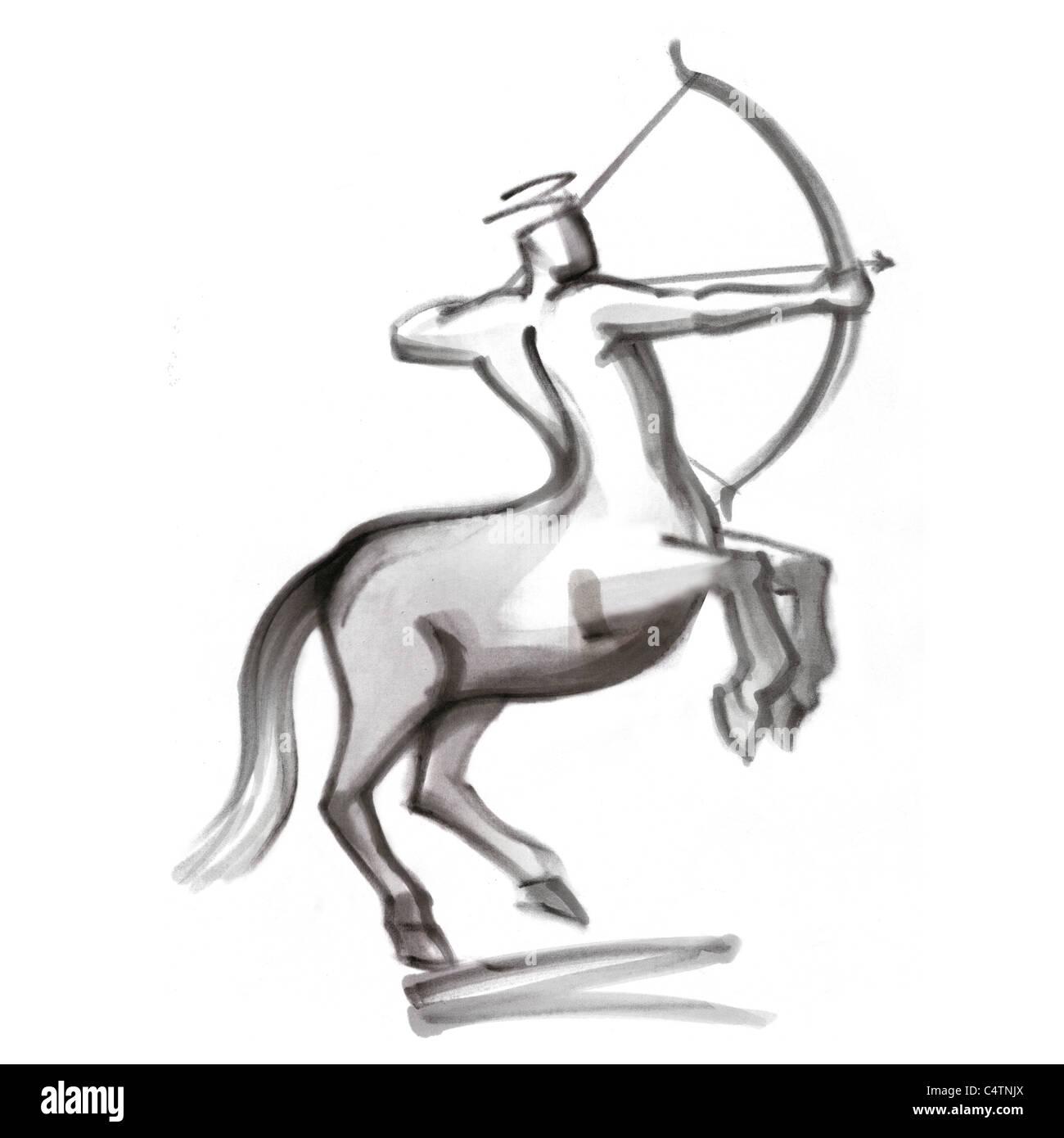 Sagittario segno zodiacale, illustrazione Immagini Stock