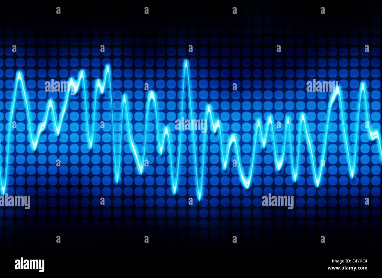 Blue elettronico suono sinusoidale o ad onda audio Immagini Stock