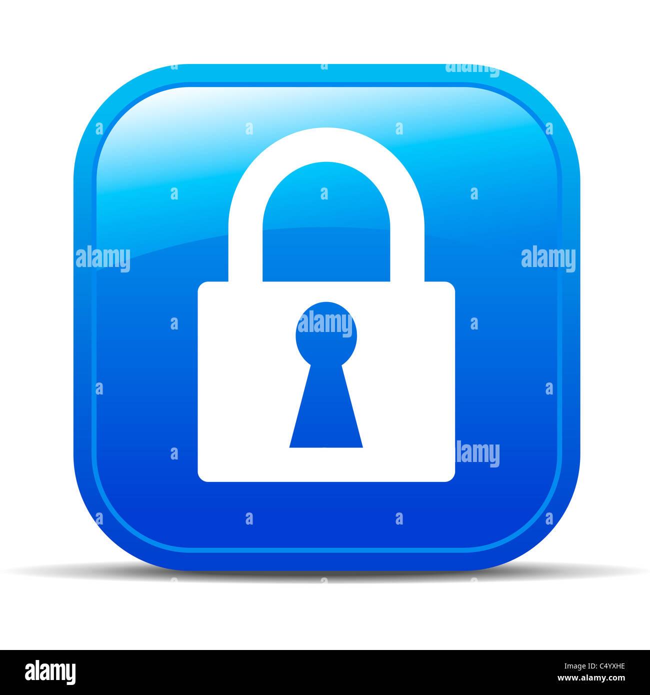 Bloccaggio con lucchetto Internet icona pulsante Immagini Stock