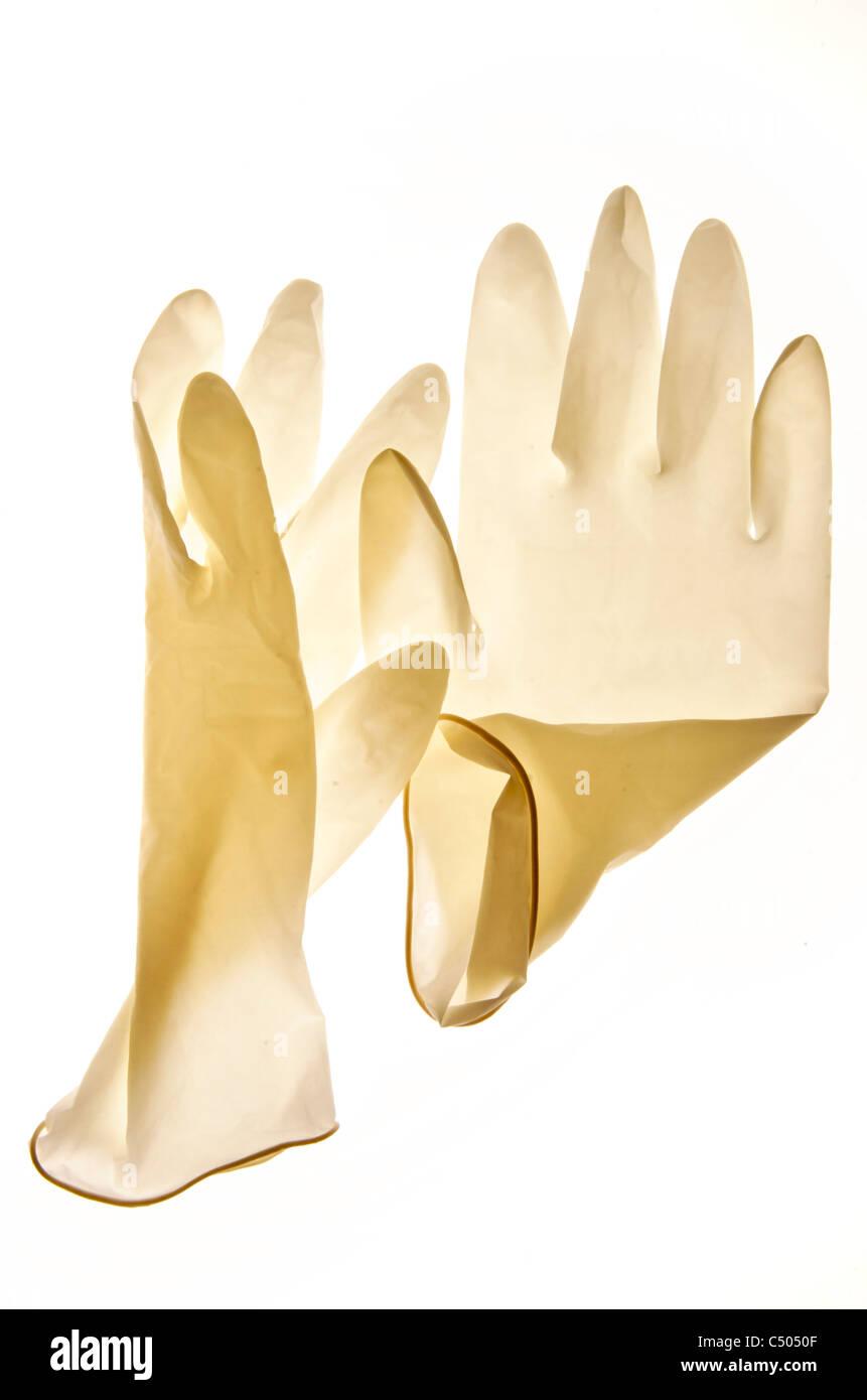 Paio di guanti in lattice monouso taglia Immagini Stock
