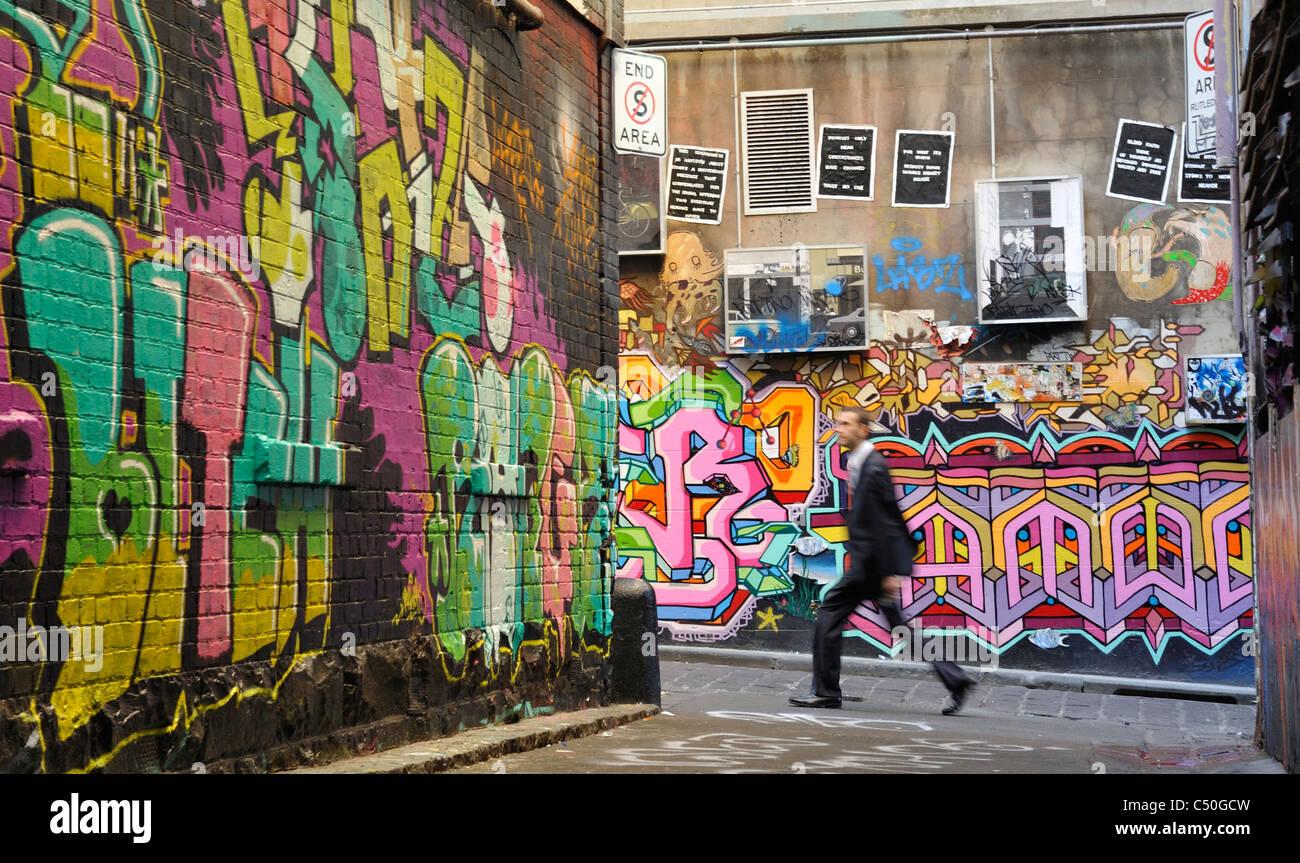 Arte dei Graffiti a Melbourne il Distretto Centrale degli Affari Immagini Stock