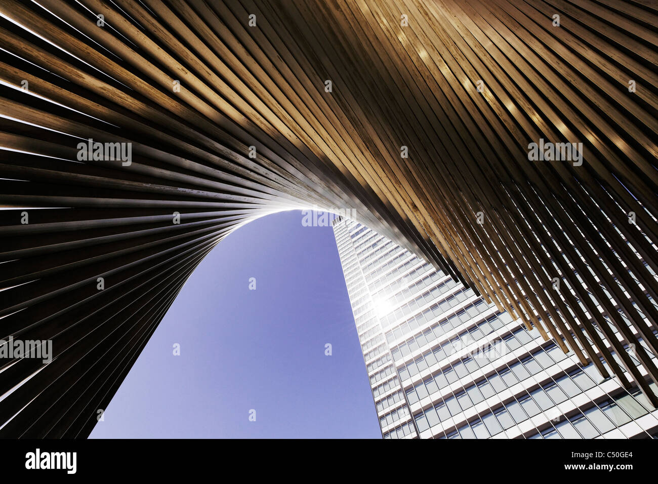 DZ Bank Tower, SELMI- città grattacielo, 142 metri di altezza, creativo, urban, Platz der Republik, Frankfurt Immagini Stock